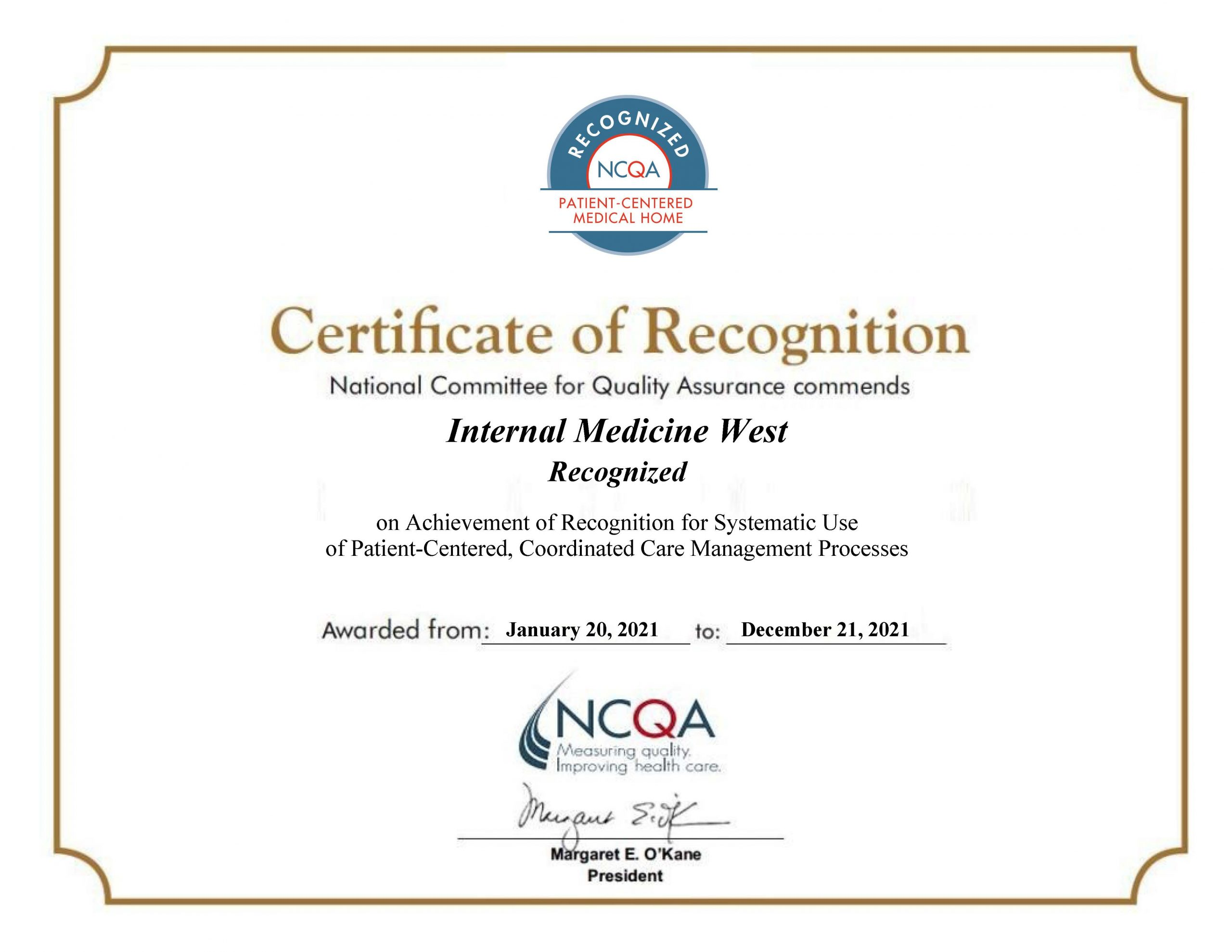 Internal Medicine West Recognized as PCMH
